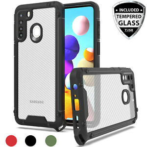 For Samsung Galaxy A21 Heavy Duty Case Carbon Fiber Hard Cover +Tempered Glass