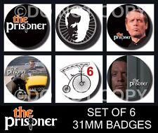 The Prisoner - 6 X 31 mm Button Badges - Patrick McGoohan - Free Post