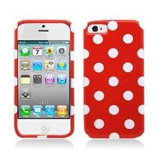 For iPhone 5 5S SE HARD Protector Case Snap On Phone Cover Red White Polka Dots