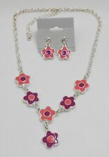 WHIMSICAL FLOWER CHARMS NECKLACE & EARRING SET - ENAMEL - PINK & PURPLE