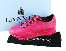 LANVIN 100% LEATHER FUCHSIA SIZE 6 SNEAKERS SHOES  # 28 NEW ORIGINAL BOX