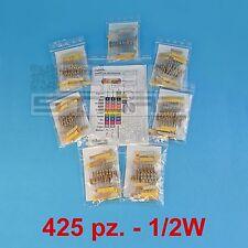 KIT 425 resistenze 1/2W set completo di resistenze 85 valori - ART. A008