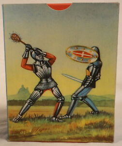 # 0808 Elastolin Vintage 1950s German BOX ONLY Knight with Long Lance Right Side