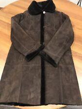 Burberry Sherling Jacket Women Sz.8 Sheepskin Suede Brown Field Coat