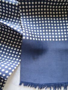 Men's elegant vintage silk scarf in navy with white polka dots & neat fringe
