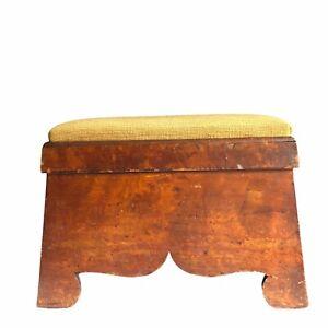 """Needlepoint Footstool Stool Wood 14"""" Vtg 1800s Handmade Folk Art Primitive"""