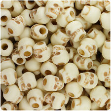 150 Ivory & Brown Antique 11mm Halloween Skull Pony Beads Made in the USA
