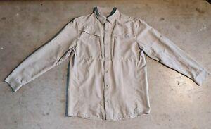 Under Armour Heatgear Loose Medium Long Sleeve Button Down Shirt Vented Brown