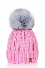 Women Winter Beanie Hat Knitted Ladies Fashion Large Pom Pom Comfort Warmth Hot