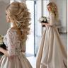 Champagne A Line Wedding Dress Appliques Lace Satin Bridal Gown Custom Size