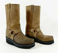 DOUBLE H Mens Sz 9 Brown Nubuck Leather Pull On Boots Harness Oil Resistant Sole