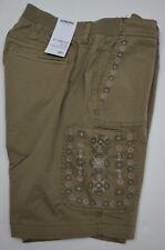Sonoma Women's Embroidered Brown Bermuda Short Elastic Waistline Petite Size 8P