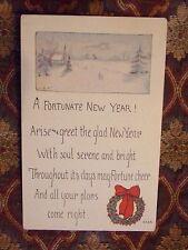 Vintage Postcard A Fortunate New Year Poem, Winter Church Scene