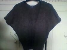 Ladys sleeveles pullover Size12 brown mohair 40% Italy design knitted waist-long