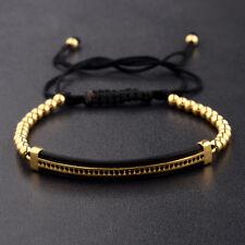 Hot Men Bracelets Gold Plated Micro Pave CZ Beads Macrame Braiding Bracelets
