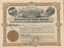 Montana - Arizona Copper Company - Stock Certificate 1922 Arizona Scripophily