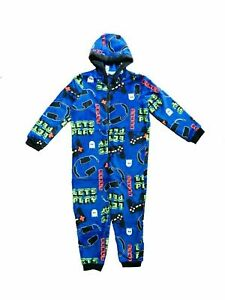 Boys Girls Kids Gaming Fleece Hooded Console Play All In One 1Onesie Age 5-13Yrs