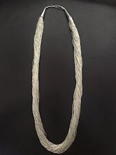 Authentic HANDMADE Sterling silver 100 strand liquid silver long necklace LS24