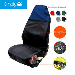 Heavy Duty Black/ Blue Front Single Seat Cover Protector Universal Waterproof