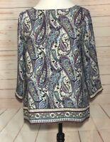 J Jill Womens XS Paisley Printed Long Sleeved Top
