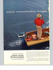 1957 PAPER AD 2 PG Evinrude Outboard Motor Electric Start Motorboat Motor Boat