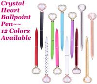 💕 1 Crystal Heart Ballpoint Pen + Black Velvet Gift Bag, 12 Colors Available
