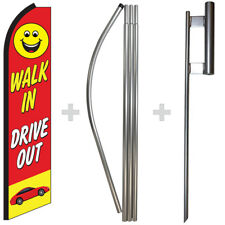 Walk In Drive Out 15' Tall Swooper Flag & Pole Kit Feather Super Bow Banner