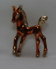 Vintage Horse BroochTAIWAN Brown pony PIN Figural Brooch BEAUTY Goldtone enamel