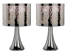 BNIB Pair of 2 Silver Chrome Tree Scene Dimmer Touch Table Lamp Lights Bedside