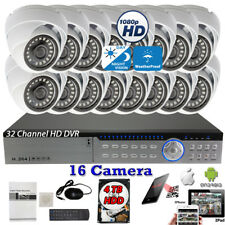 32 Channel Dvr 16pcs 1080P Hd Night Vision Home Cctv Security Camera Set w/ 4Tb