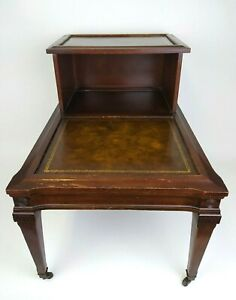 VTG Mid Century 2 Tier Step Side End Table French Style Solid Dark Wood Leather