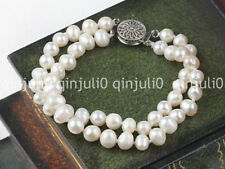 """Wholesale Two Strands 6-7mm White Cream Patoto Freshwater Pearl Bracelet 7.5"""""""