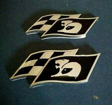 2 (Two) x HSV Black & Chrome badges 12 x 5cm SS Chevy mazda Kia Clearence