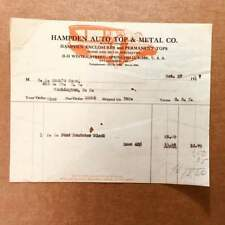 1927 invoice from HAMPDEN AUTO TOP & METAL CO. w/ billhead in red and black