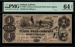 1850's $1 Obsolete - LaPorte, Indiana - Graded PMG 64 EPQ