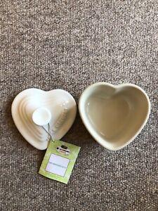 Le Creuset White Heart Ramekin With Lid BNWT