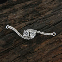 1/2ct Round Cut Diamond Two Stone Forever US Pendant Necklace 14k White Gold FN
