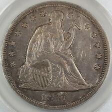 1847 Seated Liberty Silver Dollar, ANACS AU-50, Toned