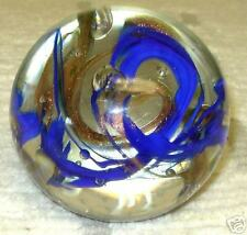 COBALT & GOLD LUTZ IN A BEAUTIFULLY SWIRLED PAPERWEIGHT