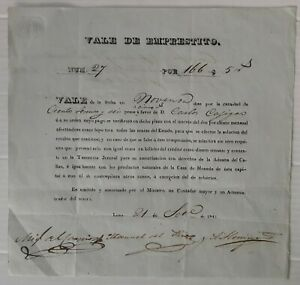 "PERU bill forerunner papermoney 1842 script good as ""dinero contante, sonante"""
