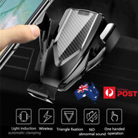 Car Qi Fast Wireless Charger Air Vent CD Mount Phone Holder For iPhone 11 XR XS