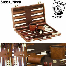 "18"" Backgammon Set Brown White Faux Leather Portable Travel Folding Case NEW"