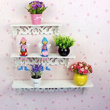 3 Estante de pared, estanteria habitacion juvenil infantil Blanco Brillo y Lila