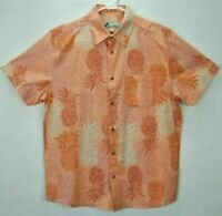 Oliver & Burke Mens L Hawaiian Shirt Pink Floral Short Sleeve Button Up Aloha EC