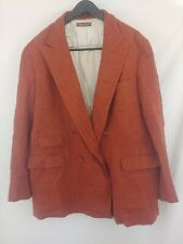 Kensington Tweeds Rust Color Wool Alpaca Blend Leather Trim Jacket Coat Sz XXLL