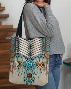 Native American pattern, Canvas tote bag, 13''x13'', 16''x16'' tote bag, X large