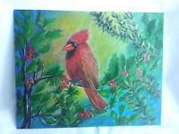 Original Acrylic  Painting Cardinal Winter 8x10 Canvas Panel Art Home Decor