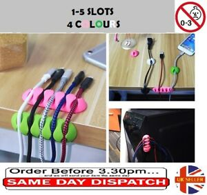 1-5 slots Cable Organiser Clips, Ties, Charger Wire Holder Tidy Management