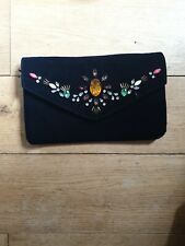 PRIMARK Velvet HAND Bag EMBELLISHED NAVY CLUTCH PRETTY BNWT