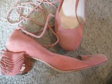 LOEFFLER RANDALL soft peach pink suede ruffle chunky heel ankle wrap pumps 8